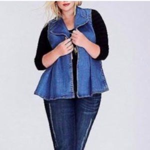 Lane Bryant Vest Fray Denim Open Front Collar